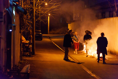 Astara, Gilan Province, Iran - March 13, 2018: Chaharshanbe Suri is persian Festival of Fire celebrated on the eve of the last Wednesday before Nowruz. People jump over fire on the street Editorial