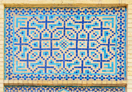 Mosaic decoration of entrance to Hammam-e Ali Gholi Agha is historical hammam in Isfahan. Iran Stock Photo