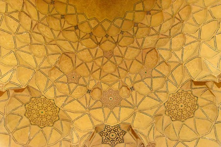 Architectural detail of Jameh mosque at night in Isfahan. Iran