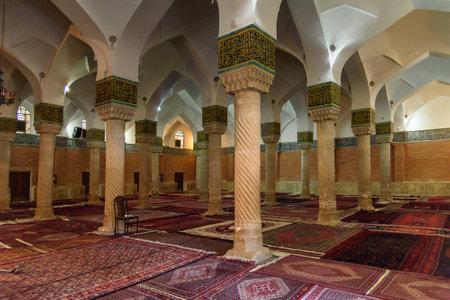 Sanandaj, Iran - April 3, 2018: Interior of Dar Ol Ehsan Mosque or Jame Mosque. Kurdistan Province
