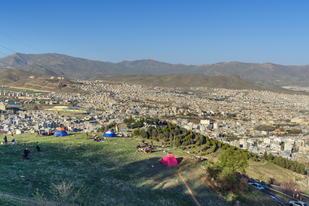 Sanandaj, Iran - April 2, 2018: View of Sanandaj city from Abidar park. Kurdistan Province