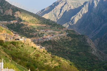 View on Howraman Valley with typical Kurdish village in Zagros Mountain. Kurdistan Province, Iran.