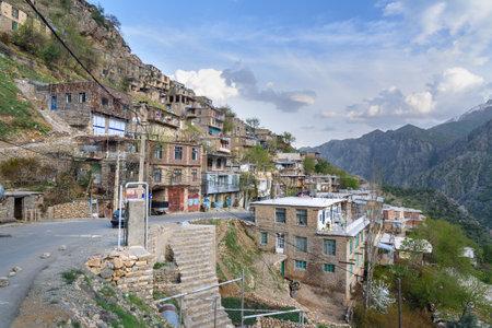 Howraman, Kurdistan Province, Iran - April 4, 2018: View on Howraman village or Uraman Takht in Zagros Mountain