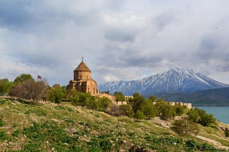 Armenian Cathedral Church of Holy Cross on Akdamar Island. Van Lake. Turkey