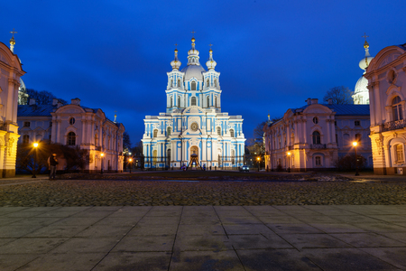 Smolny Convent with Smolny Cathedral at night in Saint Petersburg. Russia