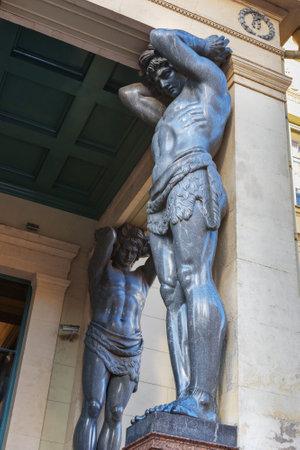 Saint Petersburg, Russia - January 7, 2018: Statues of Atlantes on Portico New Hermitage on Millionnaya Street Sajtókép