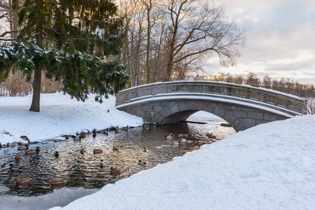 Bridge over canal in Catherine park at Tsarskoe Selo in winter. Pushkin town. Saint Petersburg. Russia