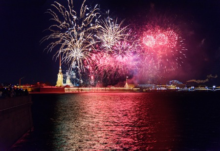 Firework on the Neva River at night. Peter and Paul fortress. Saint Petersburg, Russia Stock Photo