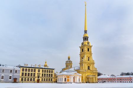 Cathedral on island in the center of Peter and Paul Fortress in winter in Saint Petersburg, Russia