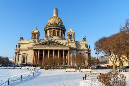 Saint Isaac's Cathedral in winter. Southern gables border with inscription Let My temple be named a temple of pray. Saint Petersburg. Russia