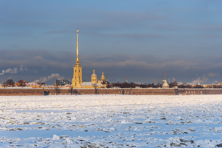 Peter and Paul fortress in winter in Saint Petersburg, Russia Stock Photo