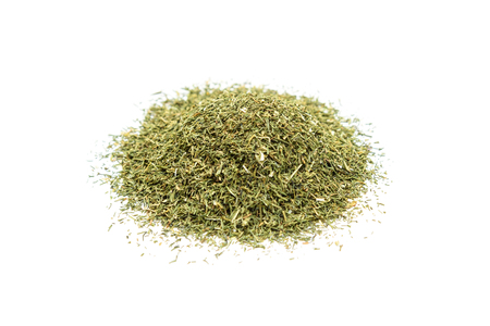 Pile of dried dill isolated on white background Foto de archivo