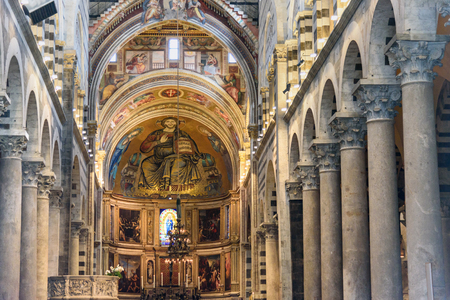Pisa, Italy - September 23, 2018: Interior of Pisa Cathedral or Duomo di Santa Maria Assunta