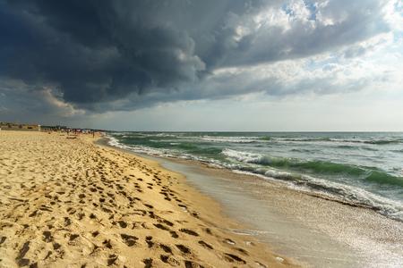 Marina di Pisa beach. View of Italian sandy beach. Italy