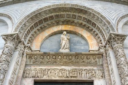 Detail of Pisa Baptistery of St. John in Pisa, Italy.