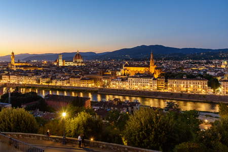 View of Florence from Piazzale Michelangelo at night. Florence. Italy