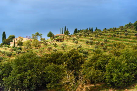 View on hamlet Fonterutoli on sunrise. It is old bastion of Castellina in Chianti in province of Siena. Tuscany. Italy.