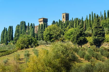Badia di Passignano, Abbey of San Michele Arcangelo Passignano is historic Benedictine abbey located atop hilltop, surrounded by cypresses in Tuscany. Italy