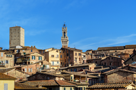 View on Siena with Torre del Mangia from Basilica di San Domenico. Italy