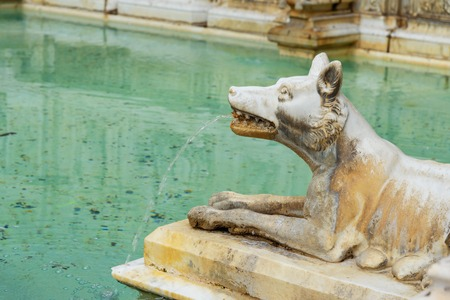 She walf detail of Fonte Gaia is monumental fountain in Piazza del Campo in Siena. Tuscany, Italy Stock Photo