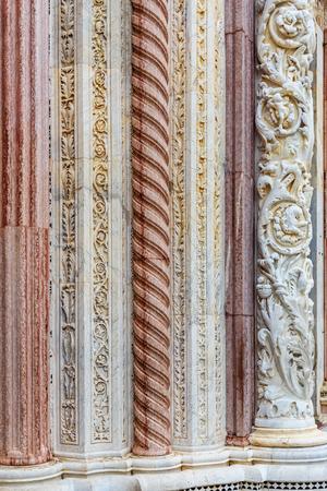 Detail of wall of Siena Cathedral Santa Maria Assunta, Duomo in Siena. Italy