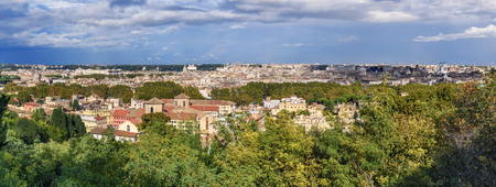 Panorama Arial view of Rome city from Janiculum hill, Terrazza del Gianicolo in Rome. Italy