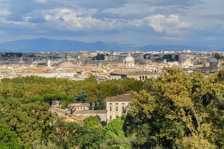 Arial view of Rome city from Janiculum hill, Terrazza del Gianicolo in Rome. Italy