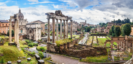 Ruins of Roman Forum. Temple of Saturn, Temple of Vespasian and Titus, Arch of Septimius Severus and others in Rome. Italy Фото со стока - 115664651