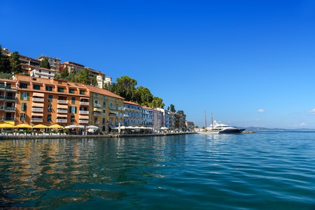 View of seaport town Porto Santo Stefano in Monte Argentario in Tuscany. Italy Imagens - 115664944