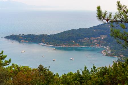 View of Palmaria island from Muzzerone mountain. Portovenere or Porto Venere town on Ligurian coast. Province of La Spezia. Italy