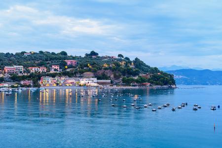 View of Portovenere or Porto Venere town on Ligurian coast at night. Province of La Spezia. Italy 免版税图像