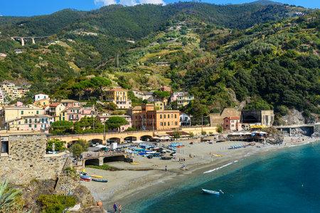 View of beach in Monterosso al mare in coastline of Liguria. Cinque Terre. Italy