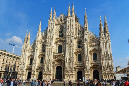 Milan, Italië - 16 oktober 2018: Uitzicht op de kathedraal of Duomo Di Milano