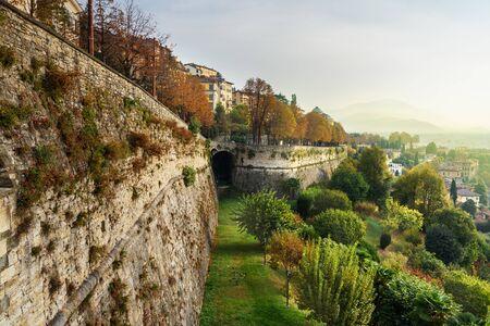 View of Bergamo city with Sant Andrea platform of Venetian Walls at morning. Italy