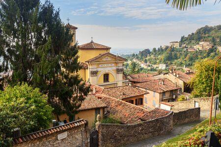 Chiesa di Santa Grata inter Vites is church in Upper city of Bergamo. Italy Foto de archivo