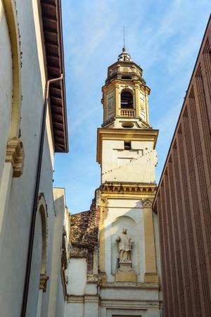 Campanile of church of San Sebastiano, Biblioteca civica di Verona, Public Library on street Via Cappello in Verona, Italy 写真素材