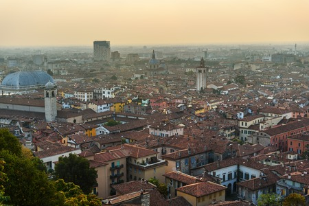 View of Brescia city from Castle of Brescia at sunset. Italy
