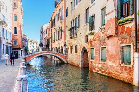 Venice, Italy - October 23, 2018: View of Canal Rio di san Falice and bridge