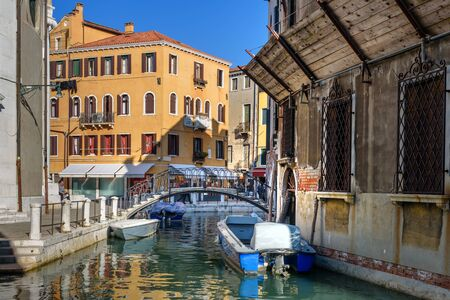 Venice, Italy - October 23, 2018: Bridge over canal Rio Della Maddalena