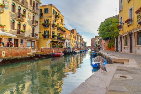 Venice, Italy - October 23, 2018: View of Canal Rio de S. Vio in Venice