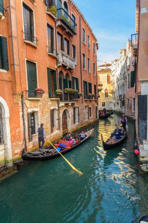Venice, Italy - October 23, 2018: Gondolas on Canal Rio di San Moise