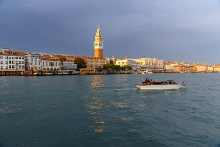 View on Grand canal from Fondamenta Salute in Venice. Italy 스톡 콘텐츠