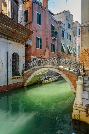 Bridge over canal Rio Della Maddalena in Venice. Italy