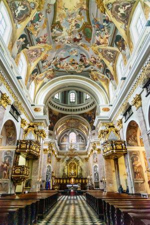 Ljubljana, Slovenia - October 26, 2018: Interior of St. Nicholas Cathedral or Ljubljana Cathedral