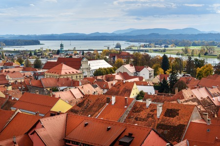 View of Ptuj from Castle the oldest town of Slovenia