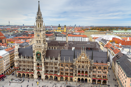 Aerial cityscape of Munich historical center with New Town Hall, town hall on Marienplatz. Munich. Germany