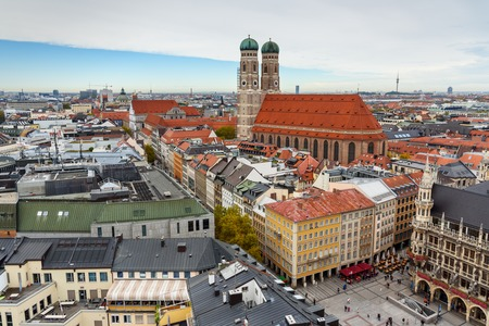 Aerial cityscape of Munich historical center with Frauenkirche. Munich. Germany Stockfoto