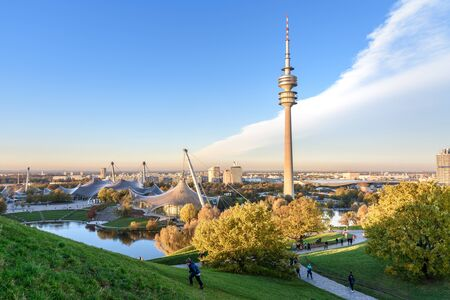 Munich, Germany - November 01, 2018: Olympic Park or Olympiapark on sunset in Munich