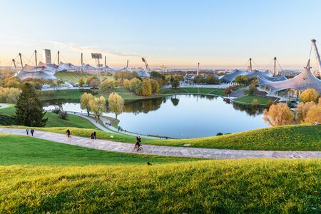 Munich, Germany - November 01, 2018: Olympic Park or Olympiapark on sunset Editorial