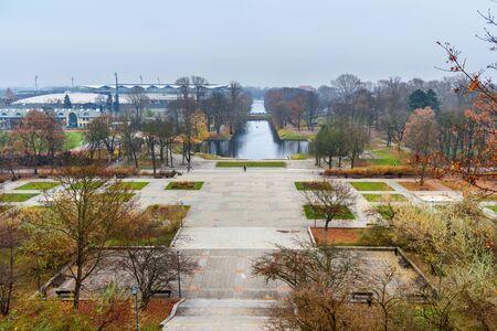 View of Lazienki Park or Royal Baths Park with Piaseczyski Canal in autumn in Warsaw. Poland Standard-Bild
